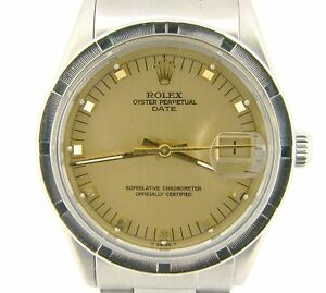 Mens Rolex Date Stainless Steel Watch Oyster Style Bracelet Champagne Dial 15010