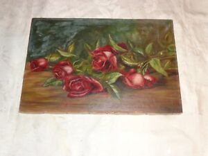 ANTIQUE VICTORIAN 19thC FLORAL DEEP RED ROSES OIL PAINTING OLD ESTATE