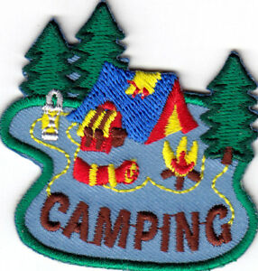 CAMPING Iron On Patch Scouts Cub Boy Girl Camper
