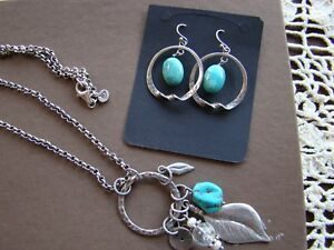Silpada SET Turquoise Feather Charm Necklace  N1556 & Earring W1437 Set $168