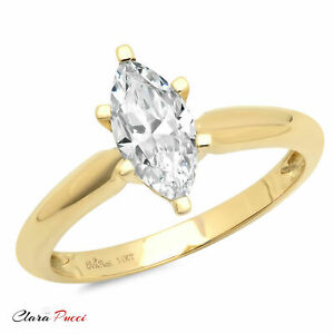 1.0ct  Marquise Cut Solitaire Engagement Wedding Ring Solid 14k Yellow Gold