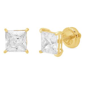 4 ct Princess Cut Solitaire Stud Earrings 14k Real Yellow Gold Screw Back