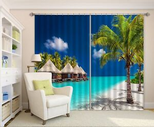 3D Beach Tropical 5 Blockout Photo Curtain Curtains Drapes Fabric Window CA Kyra