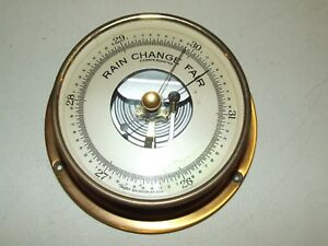Antique Round Brass Weather Wall Barometer - Taylor Co. Rochester NY USA