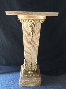 A French Ormolu-Mounted Green Onix Marble And Bronze Pedestal
