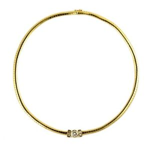 1.25CT 14k Yellow Gold Baguette Round Diamond Omega Chain Choker Necklace 15