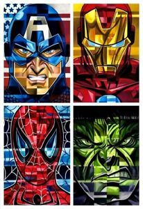 Avengers Cap Iron Man Spidey Hulk Postmodern Portrait Fine Art Collage on Canvas