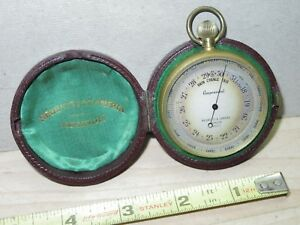Antique Negretti & Zambra London 9970 Pocket barometer & Leather case Scarce