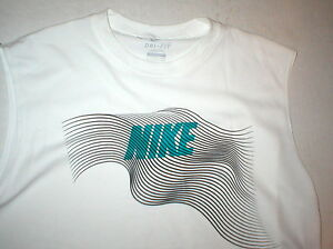 Mens Nike Training Shirt White Dri Fit UPF 40+ Sleeveless Small Logo NWT UV Swim