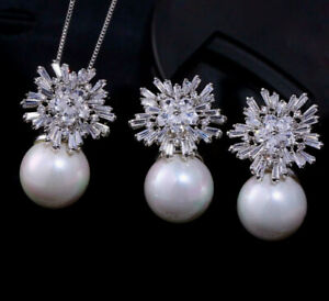 18k White Gold Genuine Pearl Necklace Earring Set made w Swarovski Crystal Stone