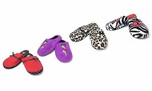 Betty Boop Slipper Ultra Soft Women's Plush Pinup Cozy Non Skid Slippers