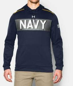 UNDER ARMOUR NAVY USNA UNITED STATES NAVAL ACADEMY DAMN THE TORPEDOES HOODIE XL