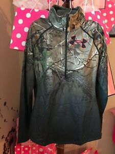 NWT Under Armour Womens Camo RealTree Half Zip Long Sleeve Pullover Shirt Size L