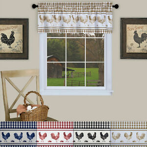 Barnyard Rooster Kitchen Window 14quot; Valance Curtain