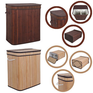 Folding Bamboo Laundry Basket Double Hamper Washing Dirty Clothes Storage w/ Lid