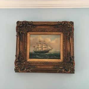 "Vintage Robert Sanders Artist Signed Maritime Ship Oil Painting 17 12"" W x 16""  $1,250.00"