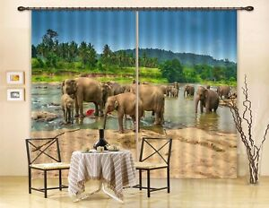 3D Tropical Elephants 46 Blockout Photo Curtain Printing Drapes Fabric Window CA