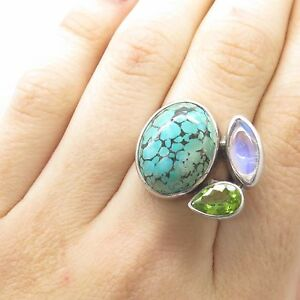 925 Silver Large Turquoise Moonstone Peridot Gem Wide Modernist Ring Size 5.5