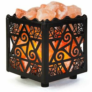 Authentic Crystal Decor Himalayan Salt Lamp Design Metal Basket w Dimmable Cord $17.99
