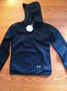 NWT Girls Under Armour Cold Gear Infrared Storm Black Hoodie Pullover Size M