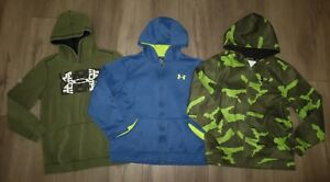 Lot 3 Boy's UNDER ARMOUR Camo Pullover Loose Full Zip Hoodie Jackets YLG Large