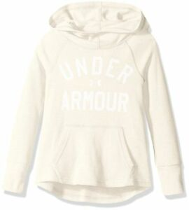 NEW Under Armour Youth Girls UA Waffle Hoodie Loose LS Ivory Shirt YXL