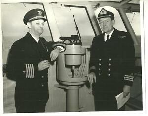 1958 USN USS Saratoga bridge Capt. Brody & Surgeon Commander Morgan Royal Navy