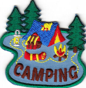 CAMPING Iron On Patch Scouts Girl Boy Cub Tent Camper Outdoors