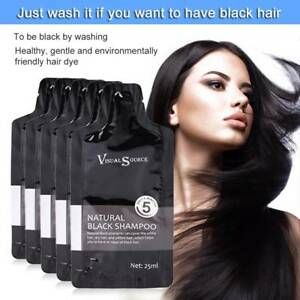 10Pcs Black Hair Shampoo 5 Minutes Fast Become Black Color Hair Dye with Gloves.