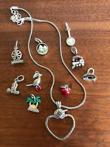 Brighton Heart Charm Holder Necklace & 9 State Charms TX OK NY NM CA IL TN CO MO