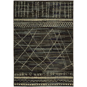 Black Diamonds Stripes Crosshatch Lines Contemporary Area Rug Abstract 633N5