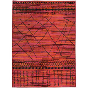 Orange Diamonds Stripes Crosshatch Lines Contemporary Area Rug Abstract 633R5