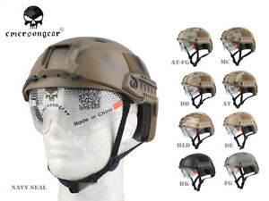 Emerson Airsoft Tactical FAST Helmet with Protective Goggle BJ EM8818