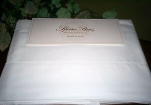 White QUEEN or KING Sheet Set LONG STAPLE Cotton PERCALE Sferra Crisp Italian