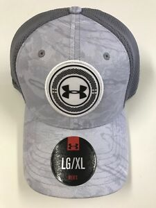 new UNDER ARMOUR GOLF Baseball Hat Gray White Camo LARGE - EXTRA LARGE Flex Fit