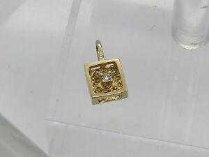 Solid TINY 14k Yellow Gold Round Diamond ACCENT Shiny Square Necklace Pendant