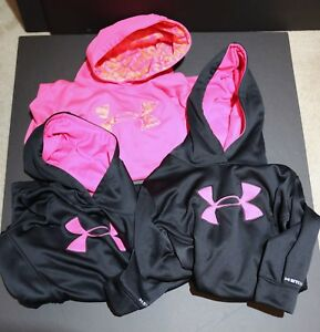 Lot of 3 Under Armour Black-Pink Loose Fit  STORM Girl's Hoodies Youth XLarge