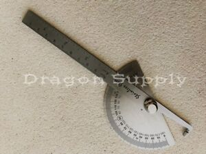 New SAE Stainless Steel Rotary Protractor Angle Rule Gauge Machinist Tool $8.95