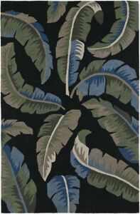 Black Palms Canopy Contrast Leaves Tropical Area Rug Floral MM3