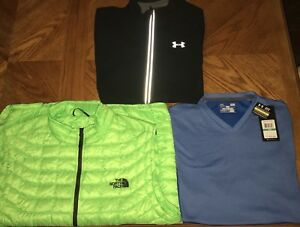 NWT NEW Lot of 3 Under Armour Jacket Shirt  The North Face Vest MEN LARGE