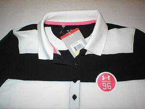 Womens New Under Armour Heat Gear Top M NWT Black White Polo Stripes Rugby Logo