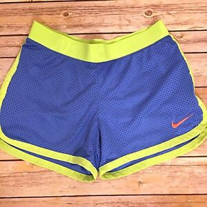Nike Dri Fit Running Shorts Workout Exercise Mesh Just Do It Blue Neon Green XS