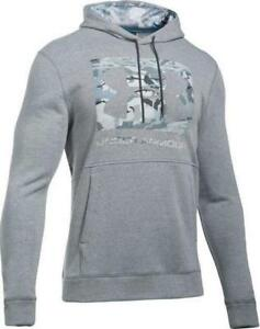 NWT Under Armour Mens UA Threadborne Pullover Fleece Hoodie GRAY GREY CAMO 2XL