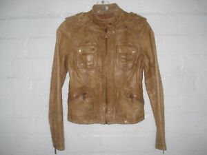 MICHAEL KORS MOTO STYLE CARAMEL BROWN LEATHER JACKET SIZE SMALL