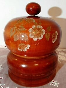Antique Handmade Wooden Sewing Box very unique round hand painted $105.00