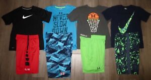 Lot 8 Boy NIKE Dri-Fit Elite UNDER ARMOUR Loose Shirts Athletic Shorts YLG Large