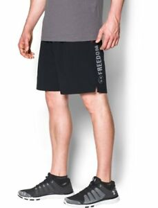 NWT MENS UNDER ARMOUR BLACK RED FREEDOM MILITARY ARMOURVENT LOOSE FIT SHORTS XXL
