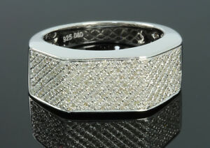 .64 CARAT MENS WHITE GOLD FINISH DIAMOND ENGAGEMENT WEDDING PINKY BAND RING