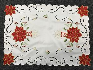 Christmas Holiday Red Poinsettia Embroidered Embroidery Cutwork Placemat Runner