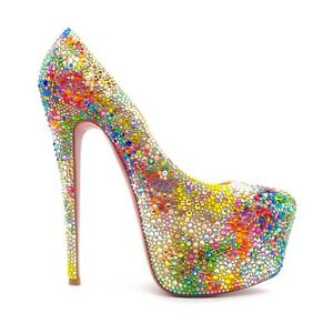 Christian Louboutin DAFFODILE Strass Ombré Watercolor Size 38.5; 25% to Charity